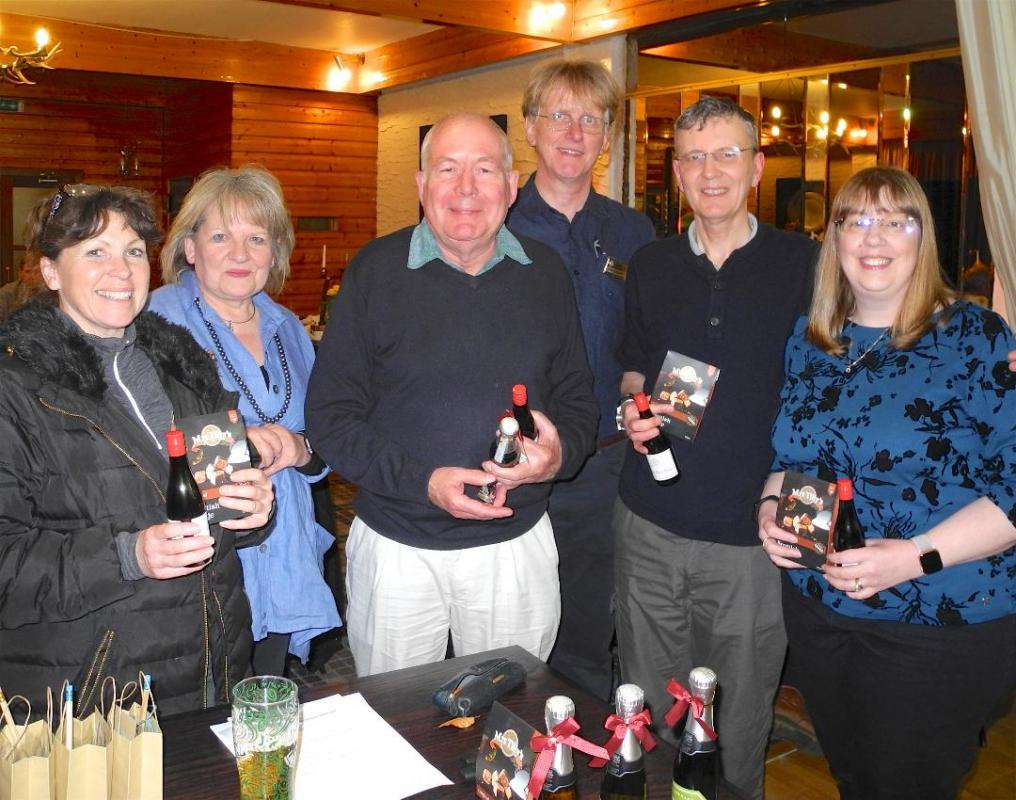 Treasure Hunt Winners 2019, David Chisholm, Dawn Green, Russell and Fiona Wheater with Linda and Steve Bassett the organisers in the background