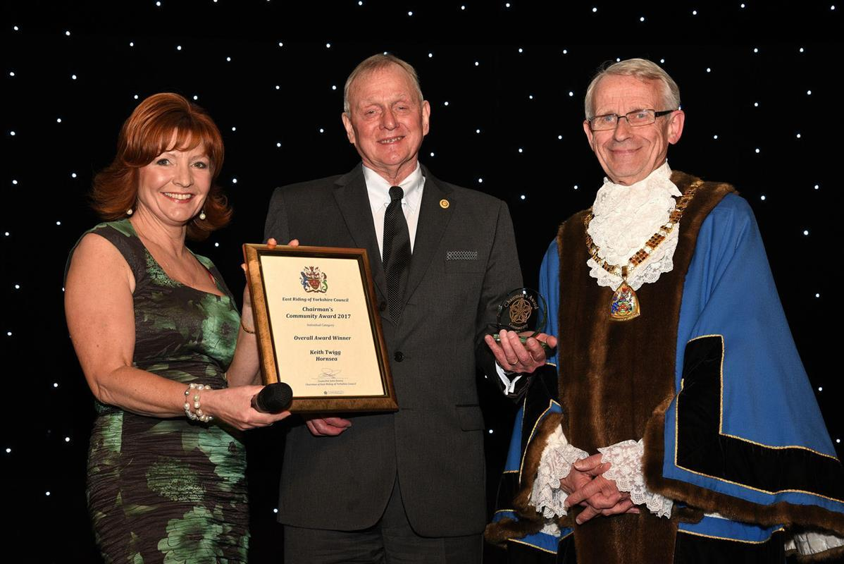 Rotarian receives a County Council's Community Award - Rtn Keith Twigg with Cllr John Dennis and Claire Frisby Look North newsreader