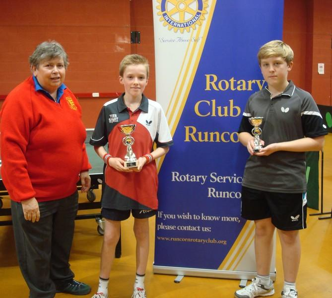 LOCAL SUCCESS AT HALTON 1 STAR TOURNAMENT - Under 18 Junior winners Halton 1 star James with runner up Ben and President of Runcorn Rotary  Karen Tonge MBE