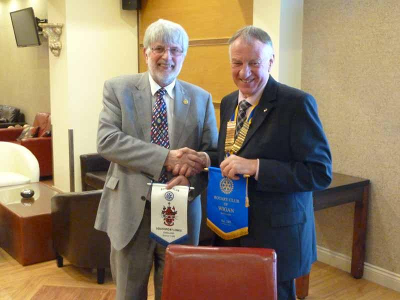 Keith Trencher, President Elect of Wigan Rotary Club with Geoff Bigg