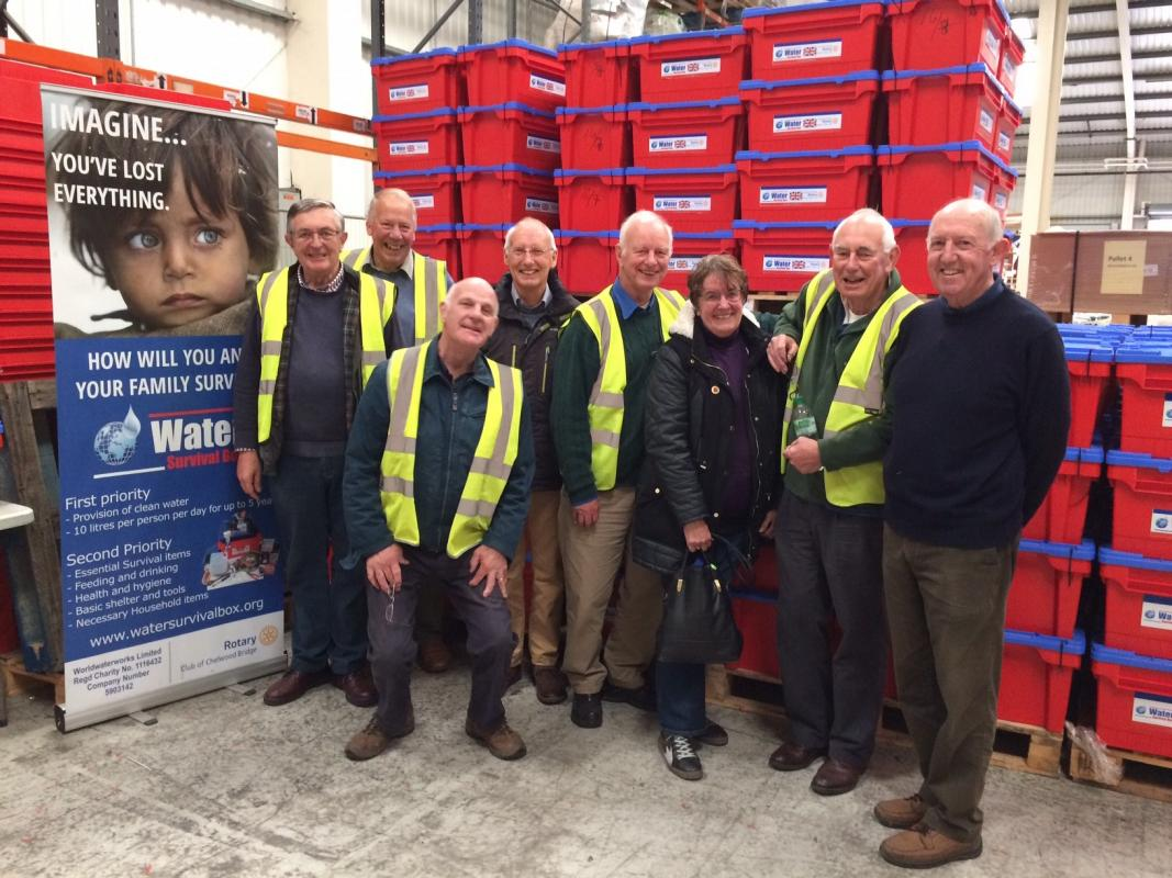 Hands on Rotary! A team of Rotarians and partners joined together to create more than 60 life saving Emergency Water Boxes which are sent as Emergency Kits to areas that have experienced a disaster.