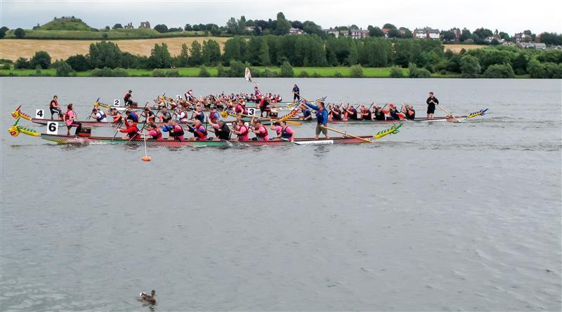Wakefield Chantry Dragon Boat Race - Boat No6 Stuarts Big Kiss wins The Final at Pugneys leisure park Wakefield