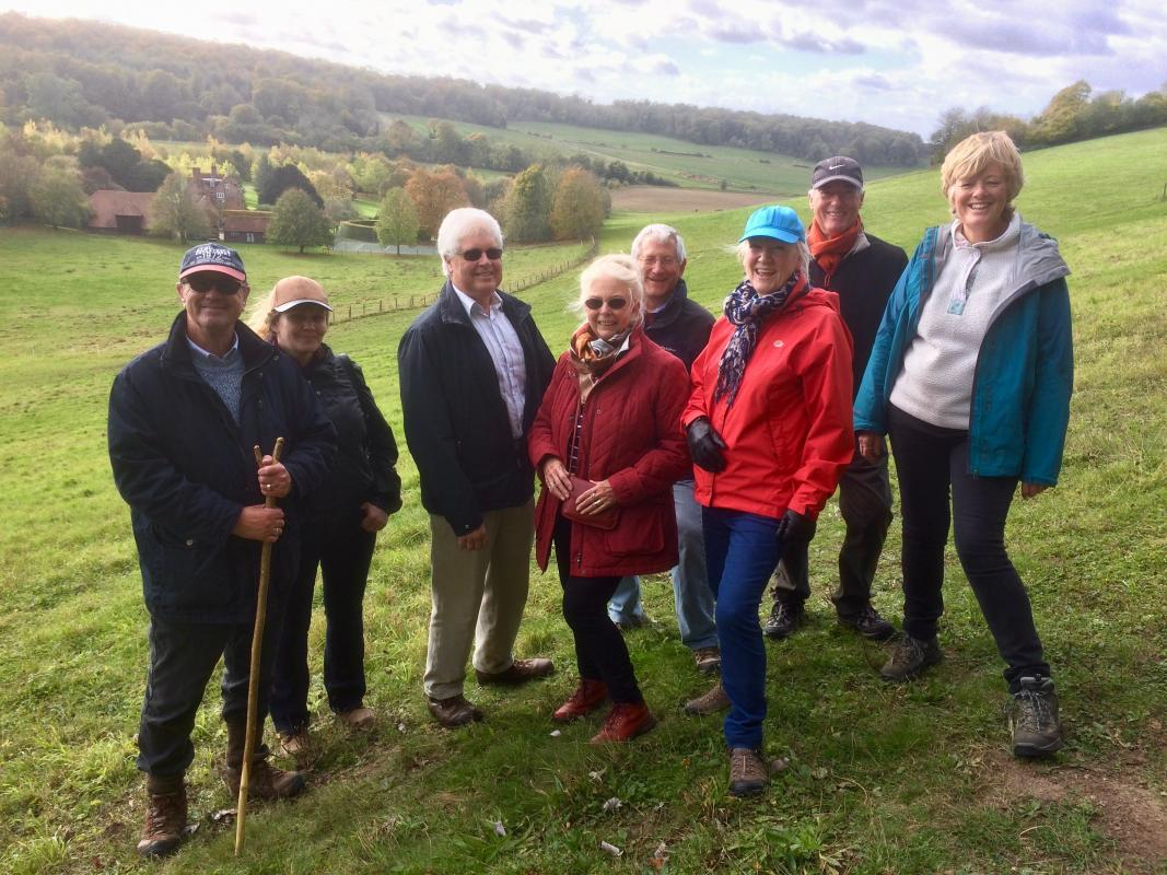 A select band of Rotarians enjoy a walk around the Checkendon countryside, rounded off with an excellent pub lunch at the Highwayman, Exlade Street.