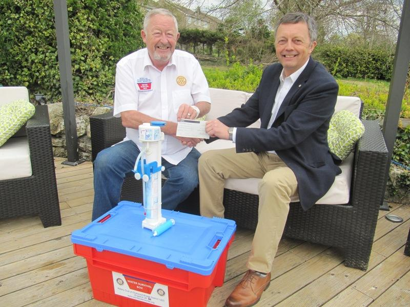 £3,000 donation for Water Survival Boxes to send to Nepal earthquake disaster - Laurence Kettle, Chairman of the International Committee presents a cheque for £3,000 to Ray Lithgo