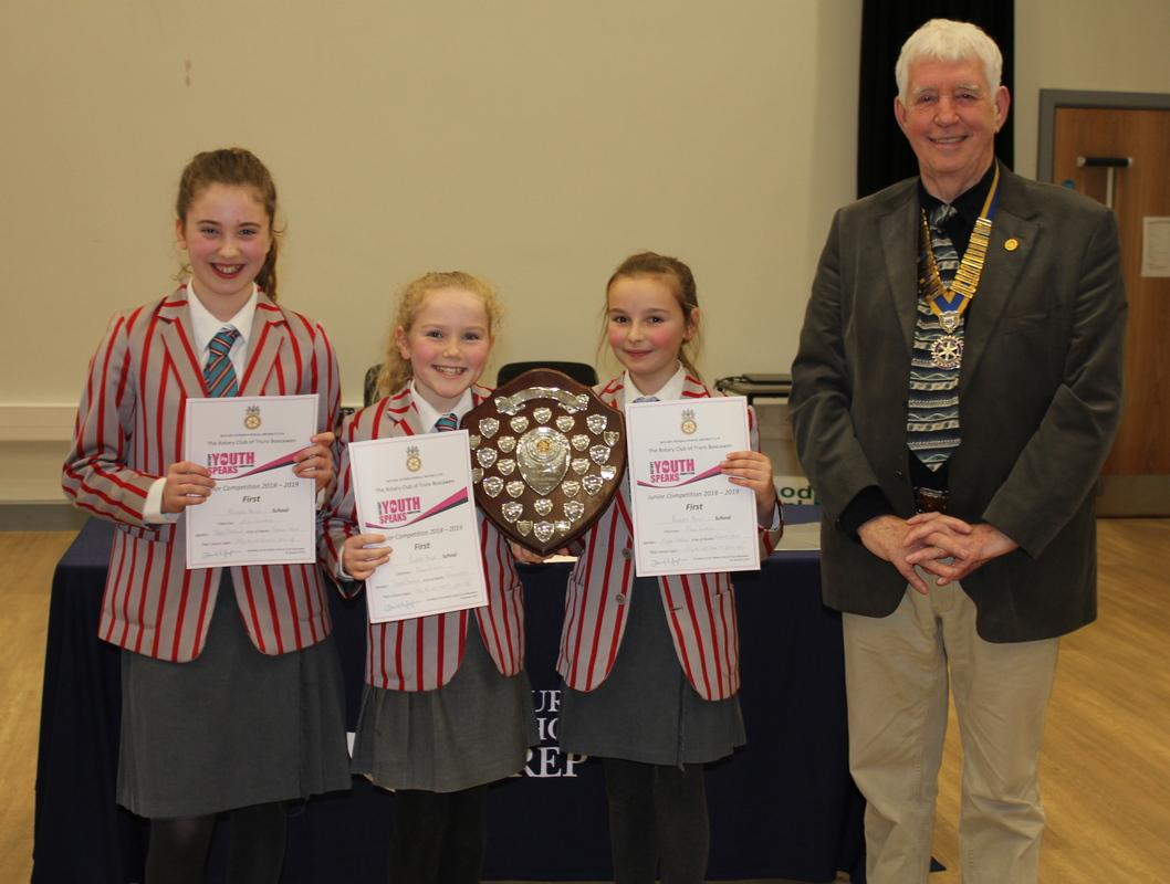 President David Hughes with the winners from Polwhele House School