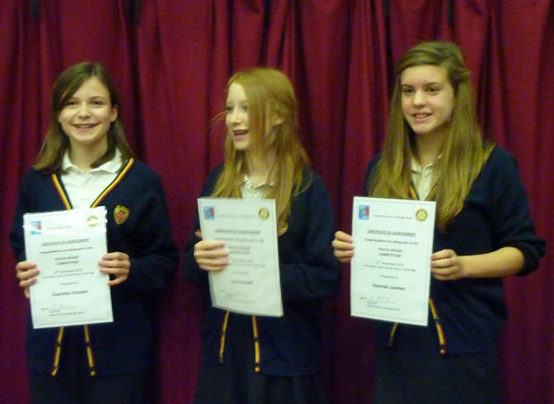 Nov 2013 Rotary Youth Speaks 2014 - Regional Winners March 2014 - St Bedes !