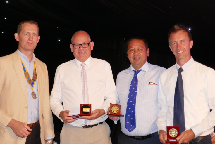 The Networking Boys win the Rotary Club of Rayleigh Mill's 8th Annual Charity Golf Tournament - President, Martin Stibbards, presents the winning team of Martin Hodson, Mark Shruben-Browne, Kevin Smith and Lee Sheldrick (missing from the 'photo) with their winner's medals.