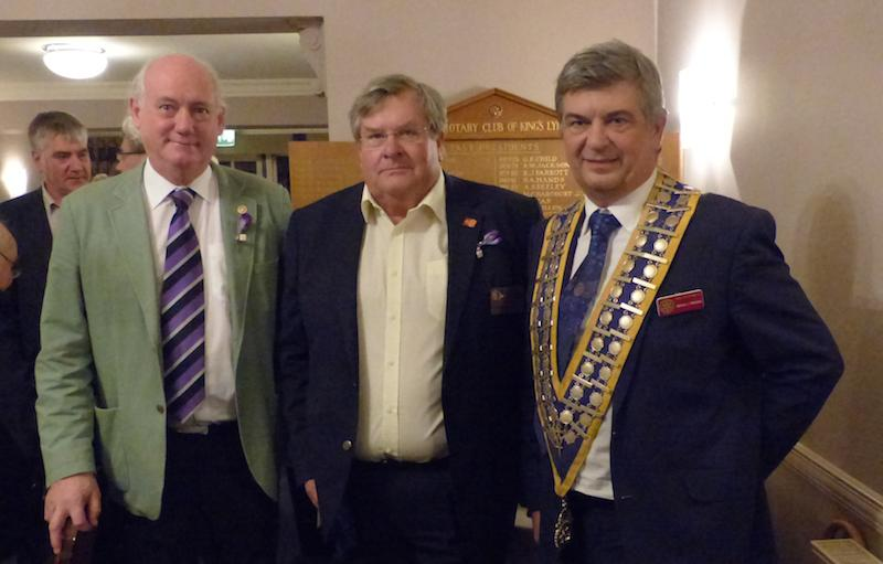 World Polio Day (Click the photo for members hard at work)  -  Rotary meeting held on 24th October 2016 in recognition of World Polio Day. from left  Rotarian Derek Harvey - Rotarian Ian Graham, District 1080 Foundation chairman, Michael Pellizzaro Club President