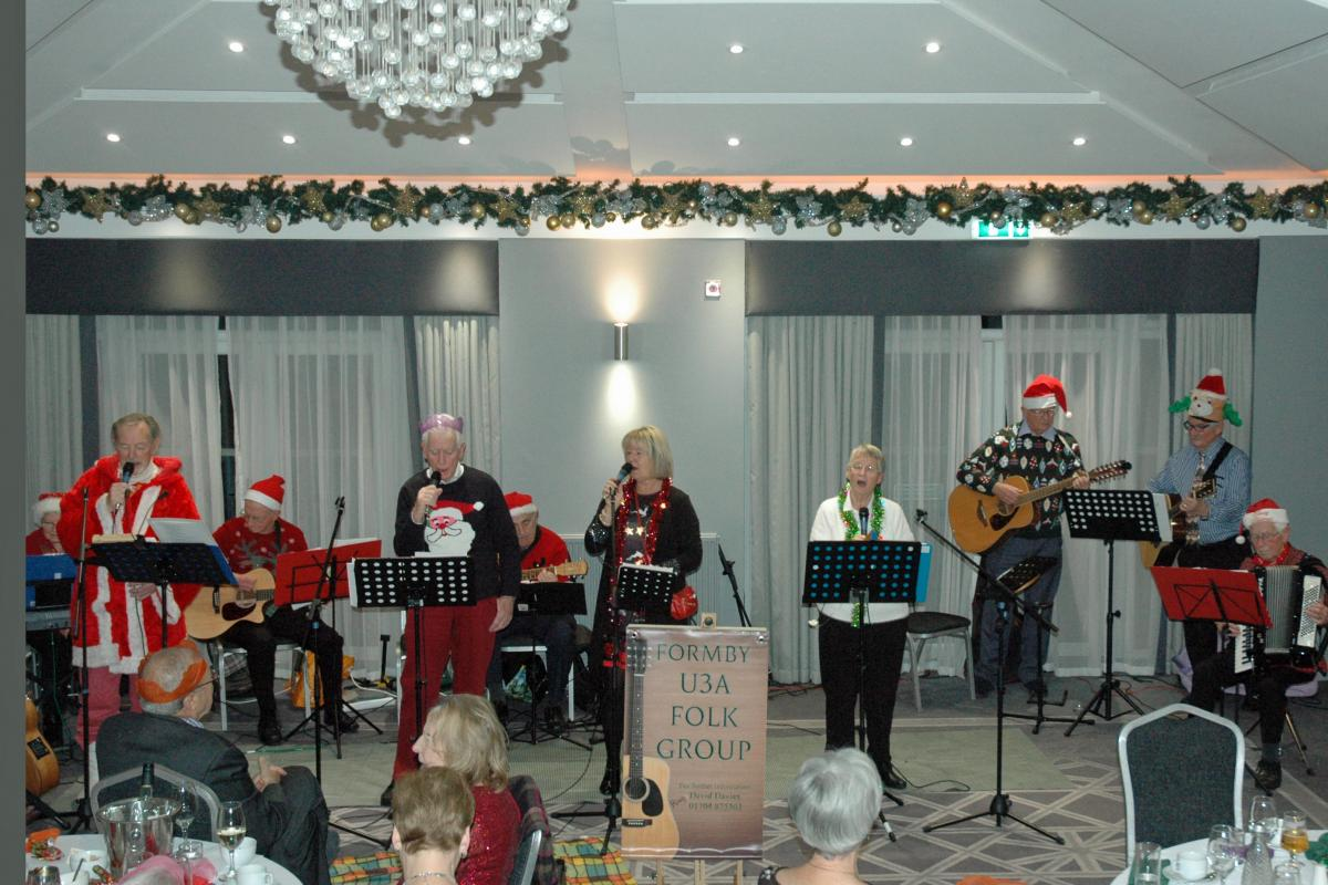 Formby U3A Folk Group Entertaining the Club and Friends