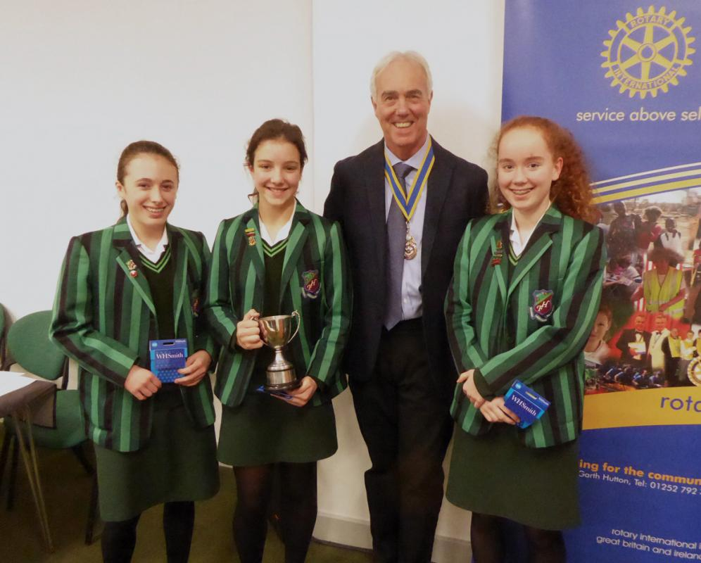 First round of our schools' public speaking competition on 22nd November 2017 was won by Farnborough Hill who were presented with the cup by President Paul Fry.