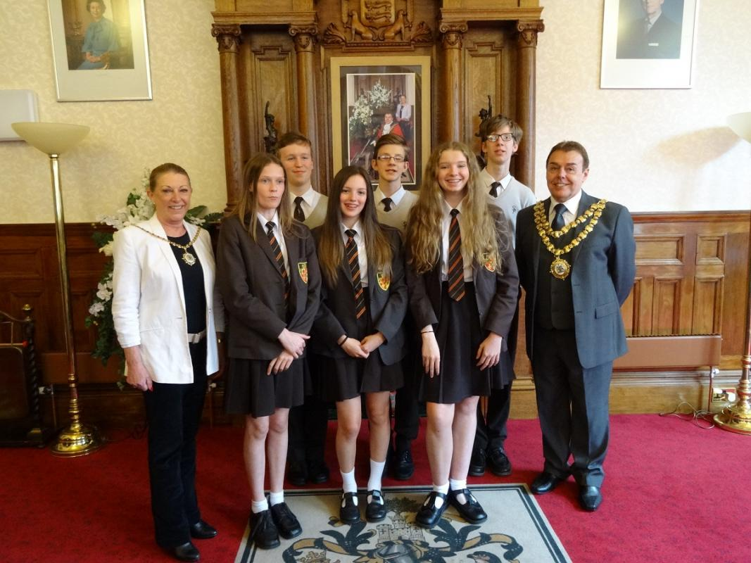 Youth Speaks Success - Mayor and Mayoress with the two teams, girls making up the Intermediate team, boys the senior team.