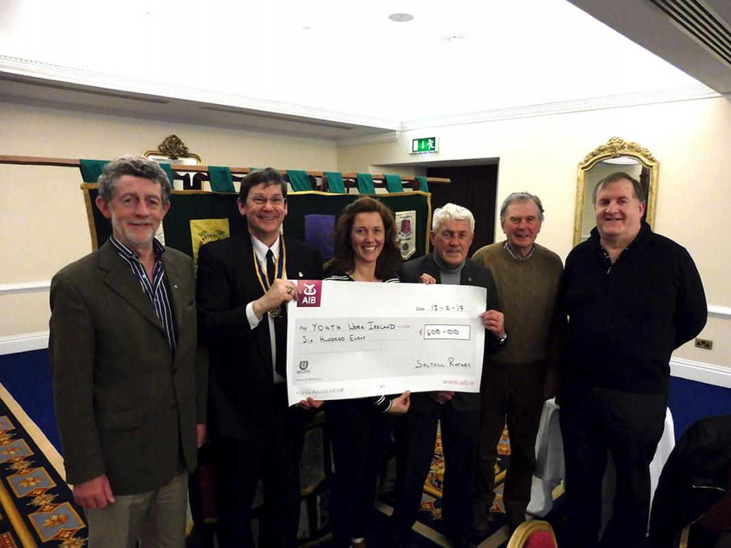 Club Meeting Dinner & Youth Work Ireland Galway  - Galway Salthill Rotary Club present cheque to Youth Work Ireland Galway
