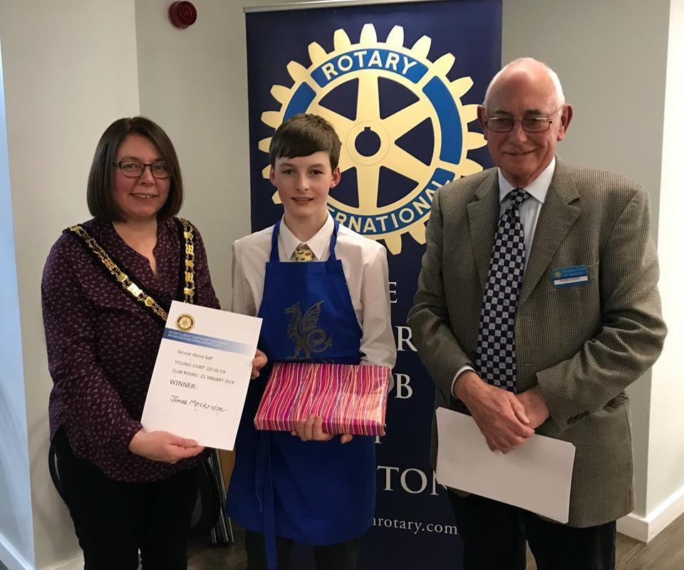 James Mockridge, Winner of Young Chef 2019 with Mayor of Taunton Deane, Cllr Catherine Herbert and Rotarian Patrick Berry