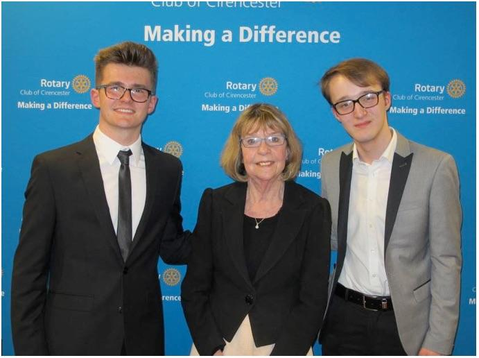 Rotary award winners Anthony Merle (left) and Ethan Moss with College Vice Principal Libby Reed