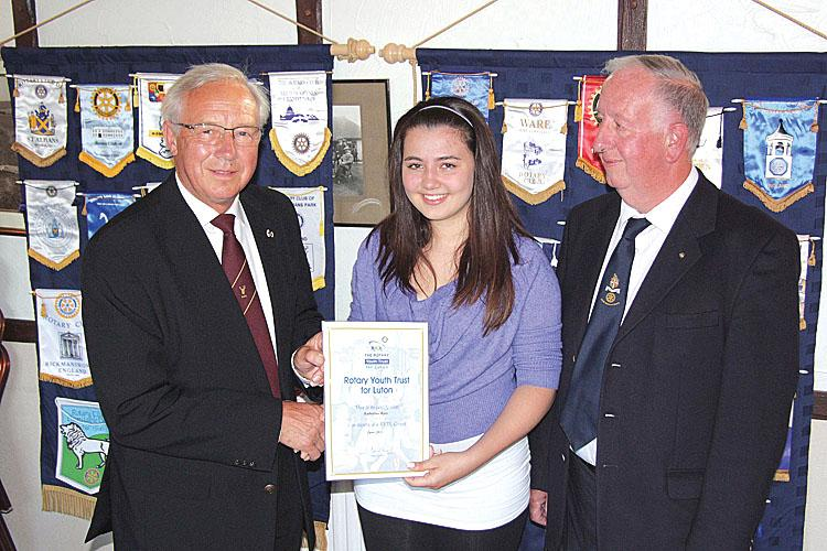 Presenting a Rotary Youth Trust Award Certificate