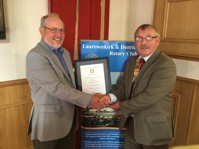 Laurencekirk Rotary community award given to Allan Smith