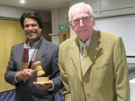 Photo from last year shows Azad receiving the new Bexhill Mayor's gavel made by the club's oldest member, Bill Heynes, who was a mere 89 years old at the time.