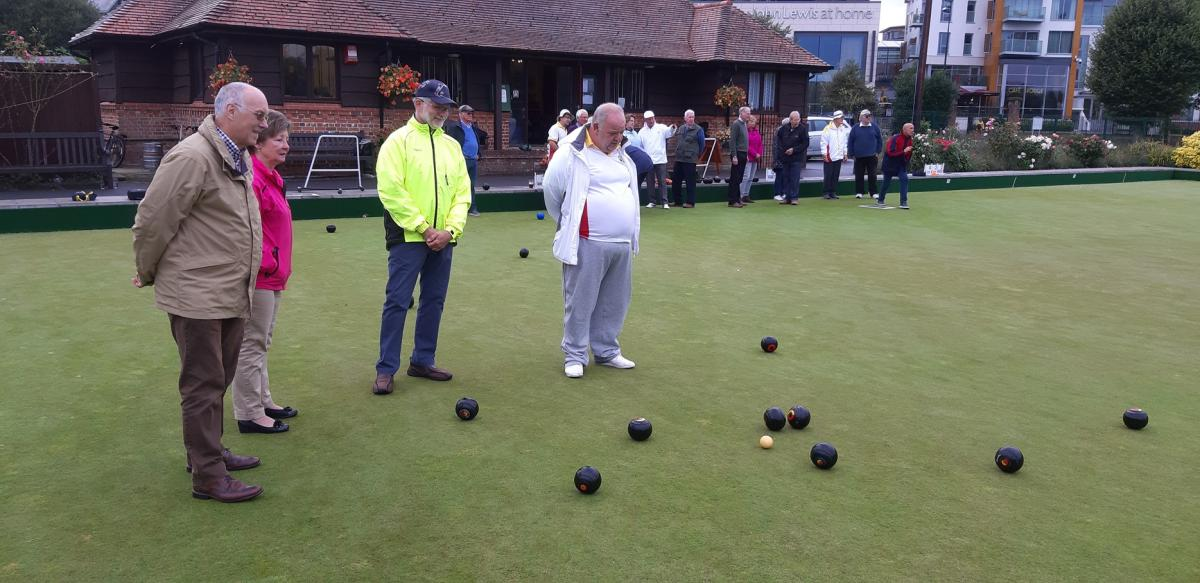 Newbury Bowling Club - Is the wood rolling in from the right going to be a winner? If only we knew which one that was!