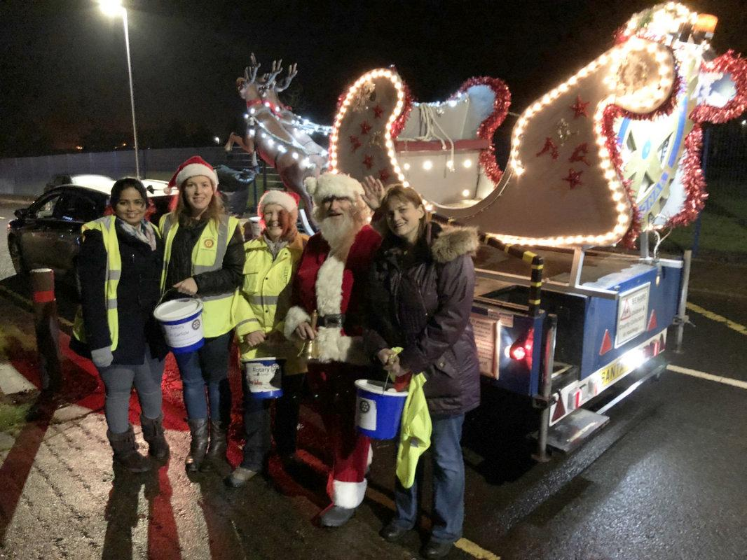 Santa and members of Carlisle Castle Rotary and friends