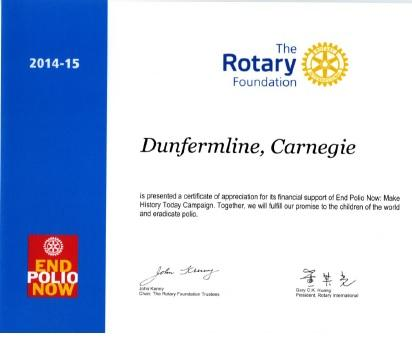 Certificate in recognition of our donations to End Polio Now. I