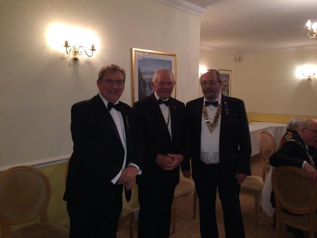 President Rod Clarke with Honorary Members Geof Twine and Roger Bailey at the Rotary Club of Basingstoke Deane Charter Night celebrations (from left to right).