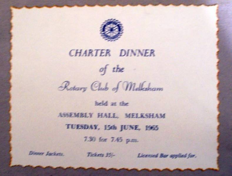 Melksham Rotary is 50 - Charter Dinner invitation