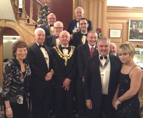 Pictured at our Charter night are (left to rt}: Hilary Standage, Pres. Andy Carter, Joe Fagan PHF,Brian Mitchelhill PHF, Mayor of Cockermouth Sam Standage, Geoff Brinscaombe from Probus, Craig Smith from Round Table, Mike Park MBE, DG Malcolm Baldwi