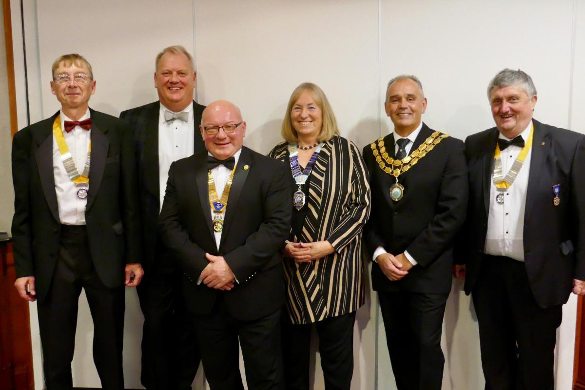 Left to right: President Nominee Dave Siddall, Chairman of James Walkers Mr Peter Needham, President Joe Fagan, District 1190 Govenor Mary Bradley, the Mayor of Cockermouth David Malloy and President Elect Phillip Straughton. (Picture :Trevor Earthy)