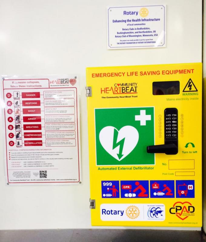 Community Public Access Defibrillators installed - Milton Keynes Station Defibrillator,with instructions and a dedication plaque.