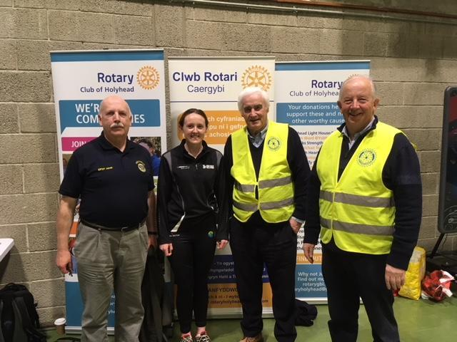 Introductory day for Disability Sport Wales - Pictured at the Holyhead Leisure Centre with President Robyn Williams are Sasha Williams Development Officer for Disability Sport Wales, Rotarians John Williams PHF and Elfryn Jones
