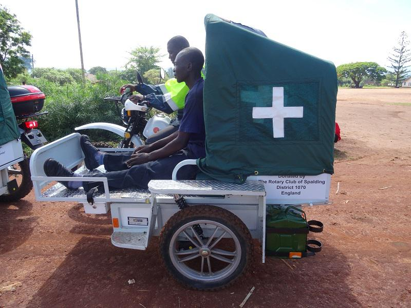 The Rotary Club of Spalding recently purchased an e Ranger motor cycle ambulance for Uganda