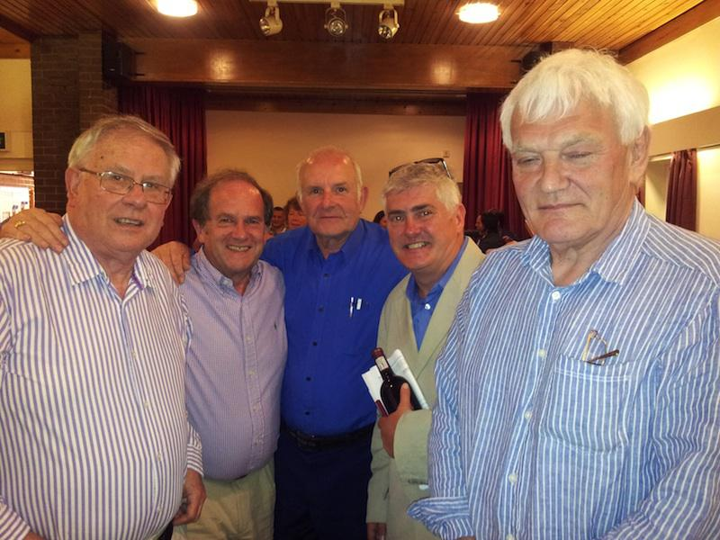 The winning 'Egg-Noggs' are presented with their prize. From left to right Roger Garland, David Platt, John Milner, Nick Hancock and Colin Harris.