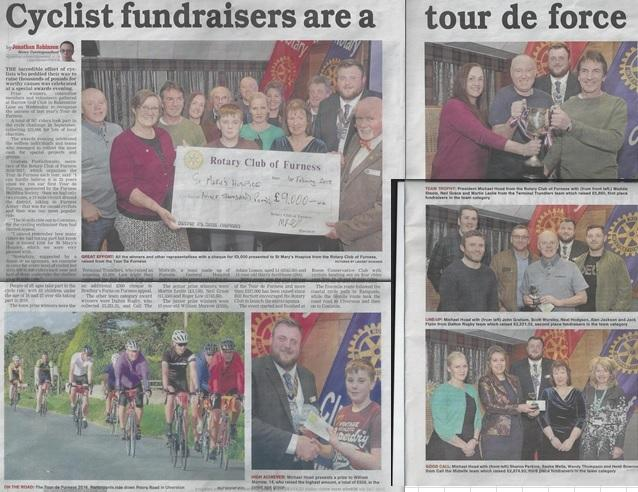 Tour de Furness Prize Presentation Evening  6:30 for 7:00 pm - Double spread in Evening Mail - excellent !