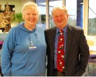 Pam talking to the Club about her background in sport and Fife Sports Council. Pictured here with Bruce Henderson of Crossroads.