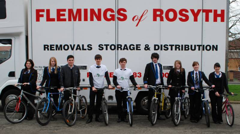 St Clumbas High School loading Flemings Removal van with Bike4Africa