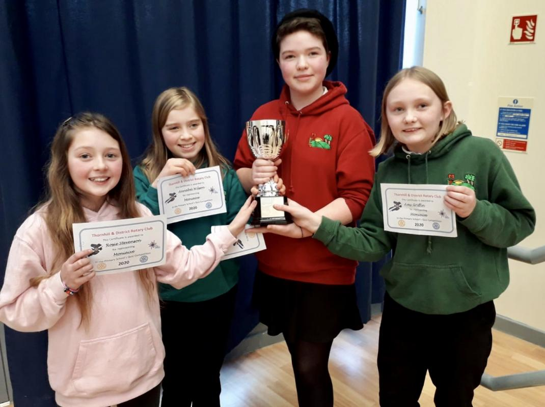 Rotary Primary Schools Quiz 2020 - Pic 1, Moniaive Primary School team, L-R, Rosie Stevenson, Annabel Wilson, Esther Thomson and Amy Griffith.