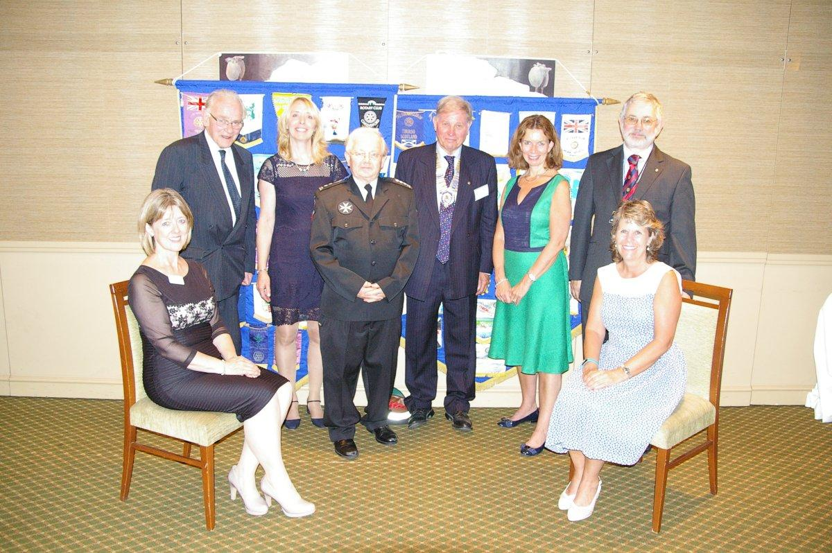 Lord Petre pictured with the recipients of those charities receiving our cheques.