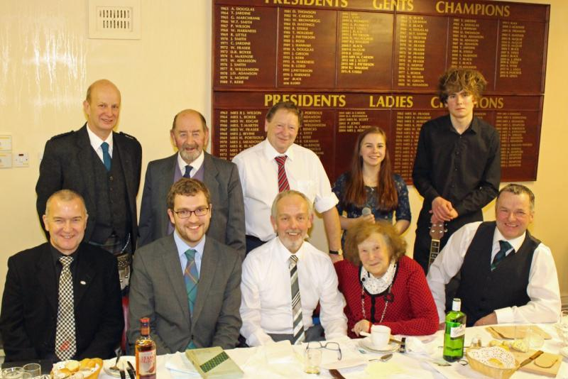 Photo shows top table with sitting Bobby Jess, Oliver Mundell, Stewart Lee, Rev Ella Pennington and Colin Mair. Standing are Willie Prentice, Brian Lord, Rotary President Gordon Steele, Musical entertainers Heather O