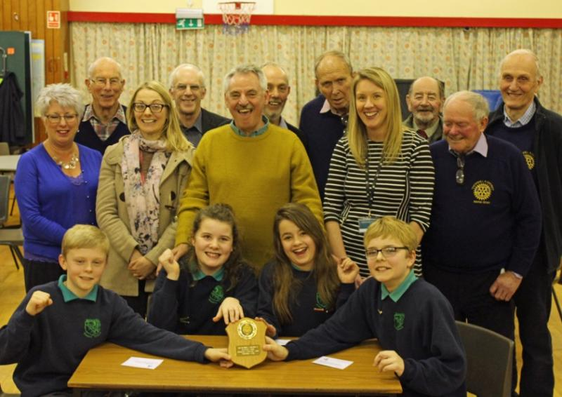 Picture shows Wallace Hall bright sparks Andrew Oram, Brodie Fergusson, Abigail Maxwell and Matthew Johstone. Standing, centre is Rotary Vice President Ian Morrison with Wallace Hall teachers Miss Meegan and Mrs Rewick. Looking on are Thornhill Rotarians.