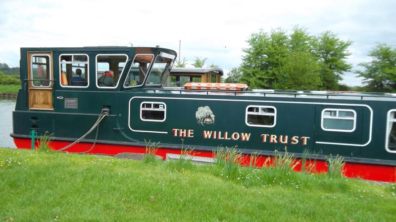 Willow Trust Outing - Canal boat leaving Saul Junction