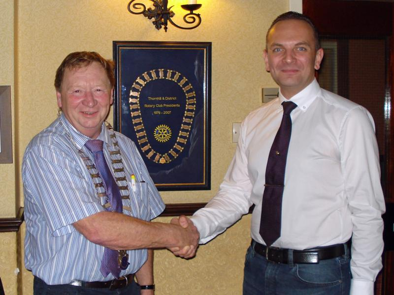 Picture shows Peter with Rotary President Gordon Steele