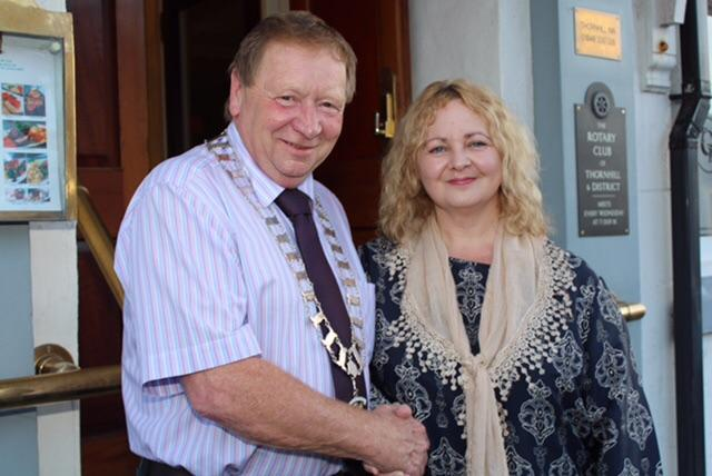 Picture shows Thornhill Rotary President Gordon Steele with Dumfries-based Dementia Adviser Mandy Pool.