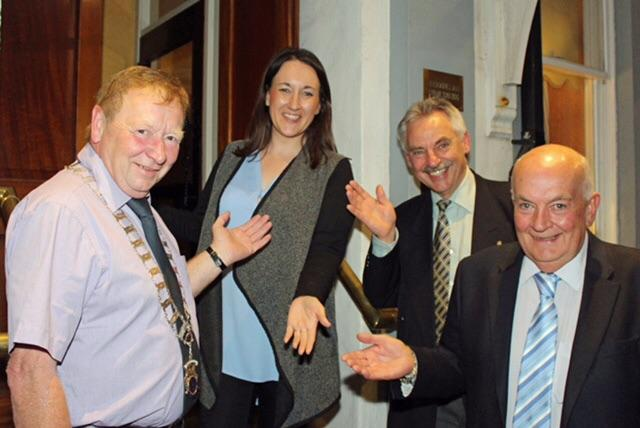 Picture shows Claudia with Rotary President Gordon Steele (Left) Vice President Ian Morrison and Past President Derek Clark