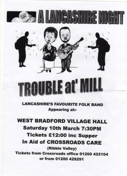 CrossRoads Care: A Lancashire Night at West Bradford Village Hall