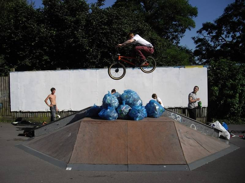 A jump for joy at the re-opening of Wells Skate Board Park