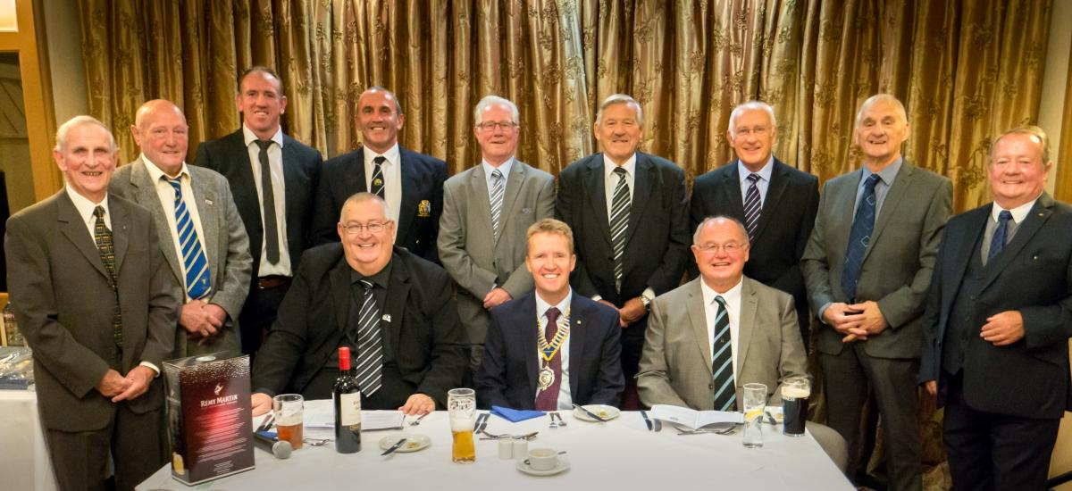 Front row: Malcolm Lord (MC), Rotary President Chris Sharp, and Big Jim Mills. In the back row l to r: Ken Rollin, Brian Lockwood, Nick Fozzard, Paul Mallinder, Ian Brooke, Neil Fox, Terry Crook, Bob Haigh and Joe Bonnar