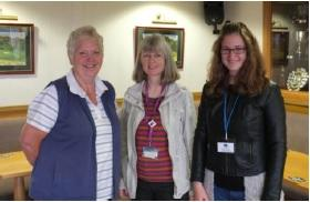 Rotarian Pam with Rotarian Lesley Botten (our speaker) and Christina from Leipzig University