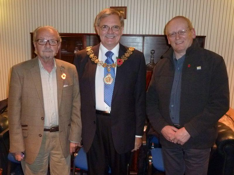Rotary Members visit the Mayor of Stafford's Parlour - Rotary President Alex Cairns-Lawrence, Mayor Peter Jones and Club Secretary Steve Groom