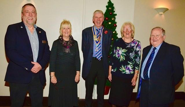From left:  Rotarians Chris Williams, Jane Castle, Sue Pridmore and Steve Kelly are pictured with Club President David Haward (centre)