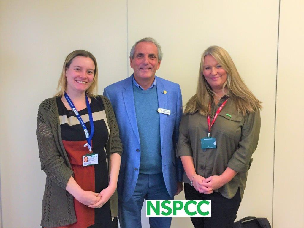 Caroline and Helen talk about the NSPCC and the Swindon Service Centre - Junior Vice President Richard with Helen and Caroline